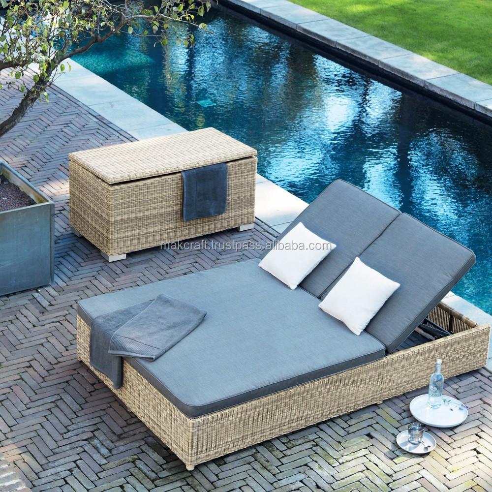 Plastic beach chair - Wicker Rattan Aluminium Double Sun Lounger Plastic Beach Chair Outdoor Rattan Pool Sunbed