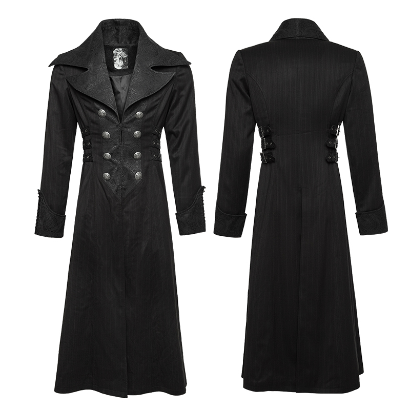 Y-742 Punk Rave Men's black victorian gothic long coat with big collar