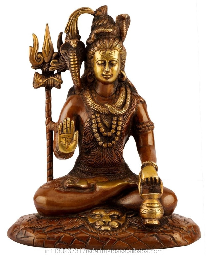 10 Large Hindu God Mahadev Statue Brass Sculpture Religious Lord