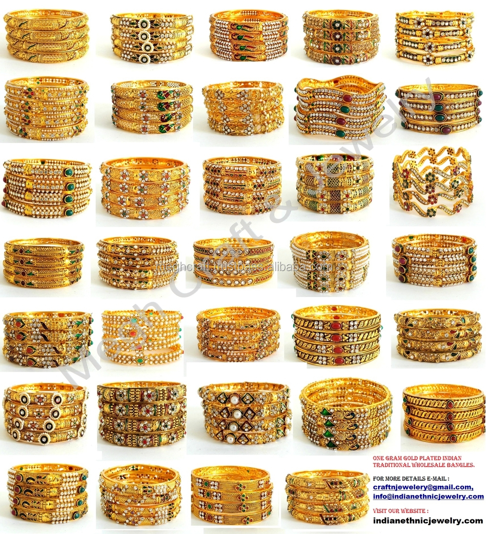 One Gram Gold Bridal Bracelets-peacock Style Kada ...