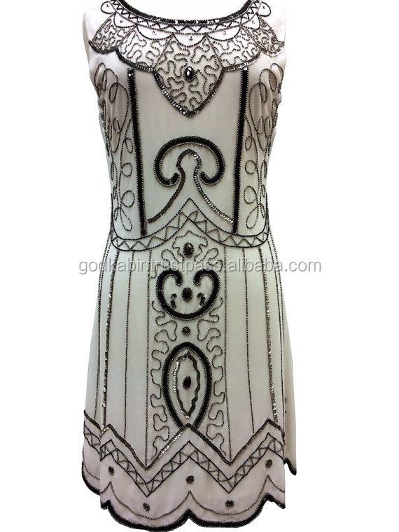 1920s style de Gatsby le magnifique Tunique Top Soirée embellir Maj Robe Vintage Robe./