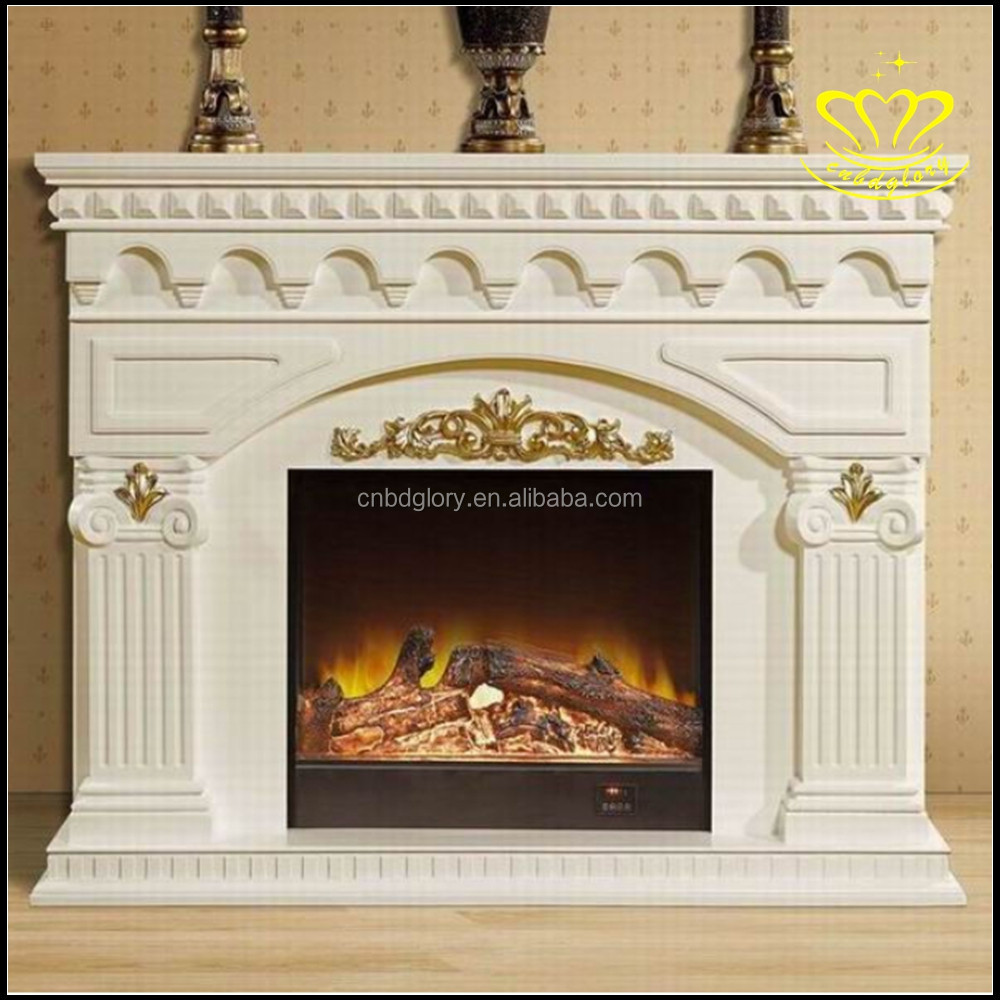 European Style Fireplace With Pure Natural Marble Ancient