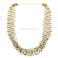 Gold 22Kt Designer Emerald Ruby Pearl Matinee Necklace Beads Jewelry