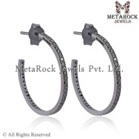 Gold Plated 925 Sterling Silver Hoop Earrings Black Diamond Pave Jewelry Design