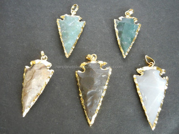Gold plated jasper gemstone arrowhead pendant buy arrow head gold plated jasper gemstone arrowhead pendant aloadofball Image collections