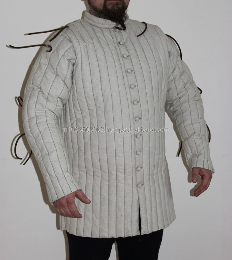 Thick padded medieval aketon WHITE COLOR gambeson armor jacket play theater movies drama SCA LARP REENACTMENT