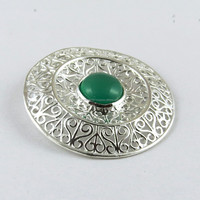 Exotic Filigree 925 Sterling Green Onyx Silver Pendant, Indian Handmade Silver Jewellery, Online Silver Jewelry