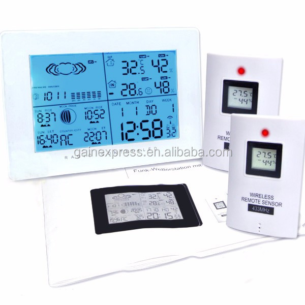 Wireless Weather Station/ Indoor Outdoor Thermometer Temperature Humidity w/ RCC Radio Controlled Clock w/ 2 Remote Sensor