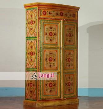 Painted Indian Painting Almirah Bedroom Wardrobe Furniture Design