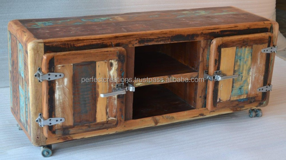 Surprising Reclaimed Wood Tv Console Solid Wood With Wheels Buy Reclaimed Wood Old Wood Old Fridge Style Fittings Product On Alibaba Com Download Free Architecture Designs Grimeyleaguecom