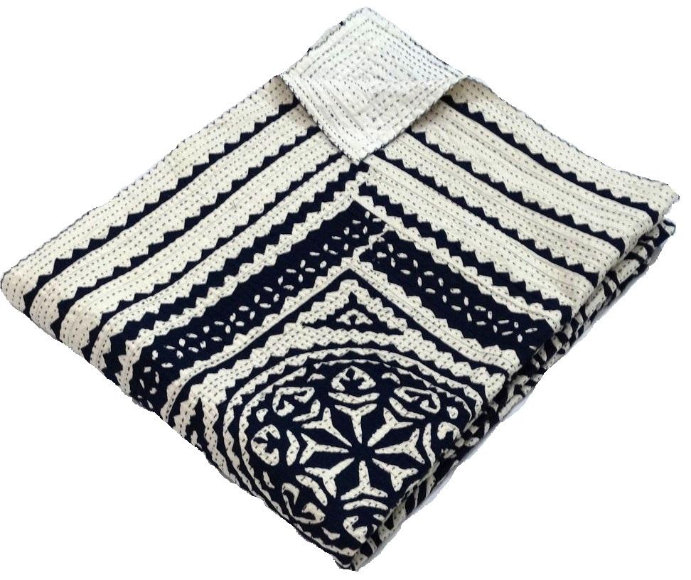 Blue Patchwork Kantha Quilt Applique Kantha Throw Cutwork Kantha ...