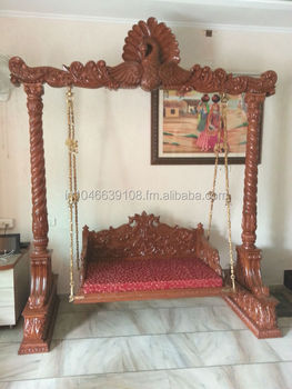 Wooden jhula swing peacock theme indoor buy jhula swing for Living room jhula