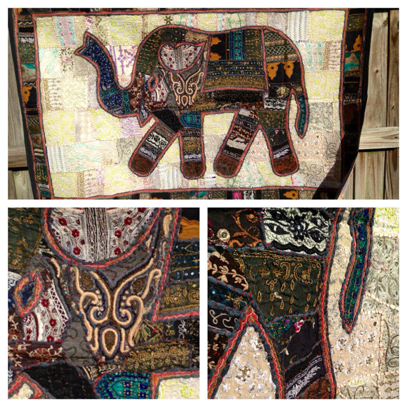 Elephant Wall Hanging embroidered indian patchwork elephant wall art tapestry vintage