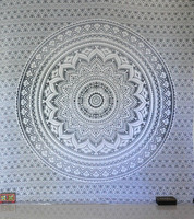 Indian Traditional Mandala Hippie Wall Hanging, Cotton Gray/Silver Tapestry Ombre Queen Size Bohemian Bedspread