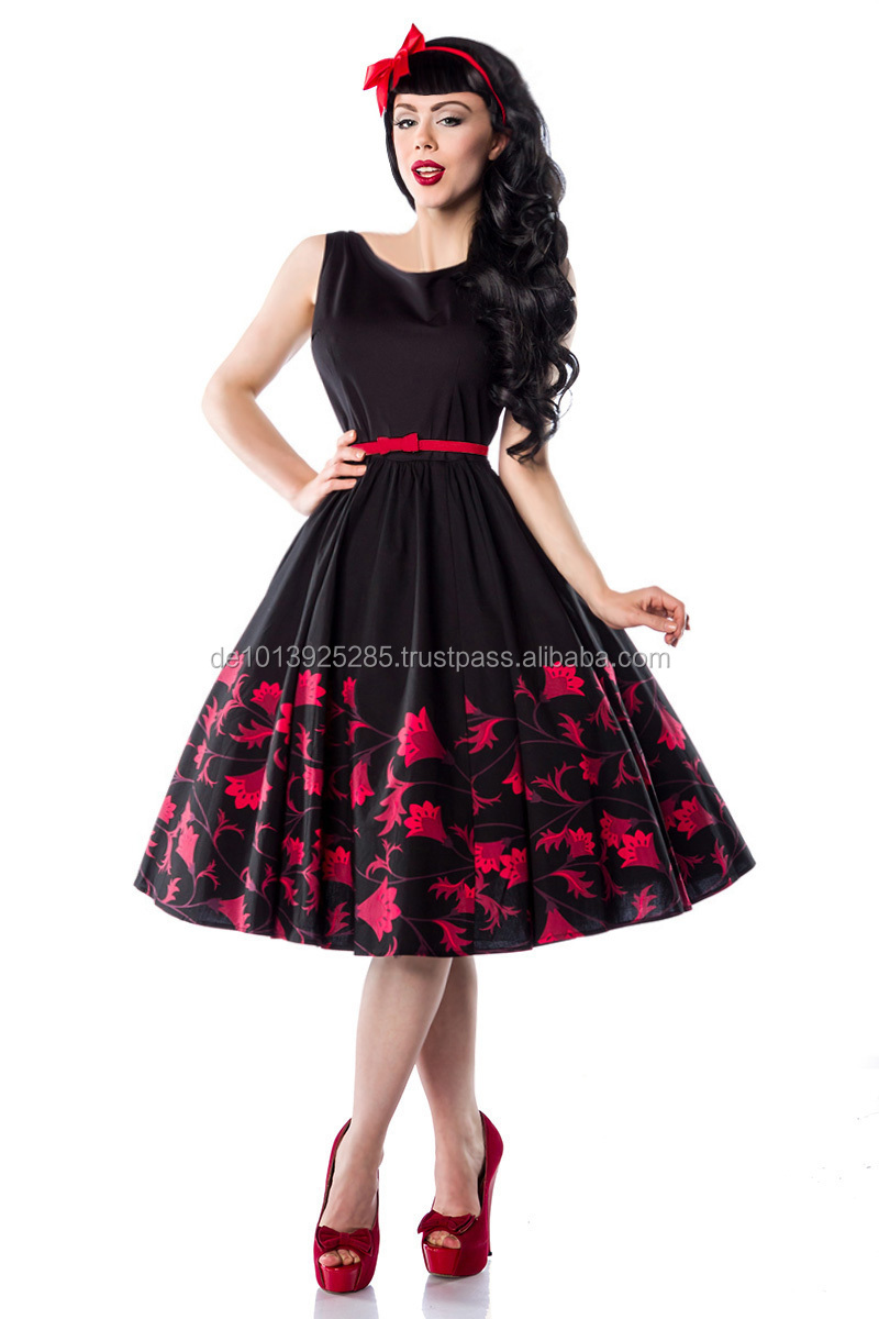 Popolare Very Cute Pin Up Retro Rockabilly Dress With Flower Print - Buy  XV89