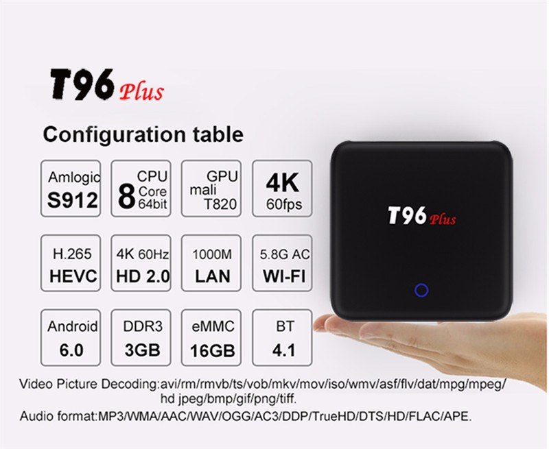 Dragonworth T96 PLUS S912 3G+16G Android 6.0 play store download app photo TV Box Touch Power Button with Circuit Breathing Lamp