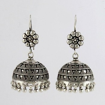 Extreme Oxidized 925 Sterling Silver Jhumka Earring Fine Jewellery Whole
