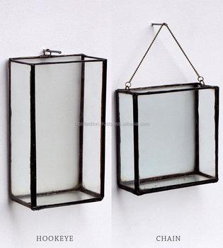 Vintage Brass Glass Wall Hanging Display Box Terrarium Box