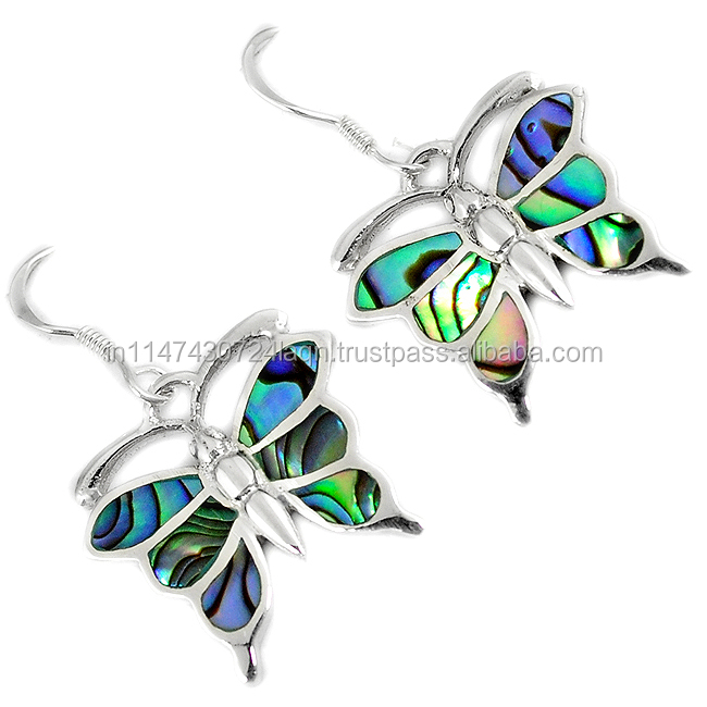 Natural Green Abalone Paua Seashell 925 Silver Butterfly Dangle Earrings H47211