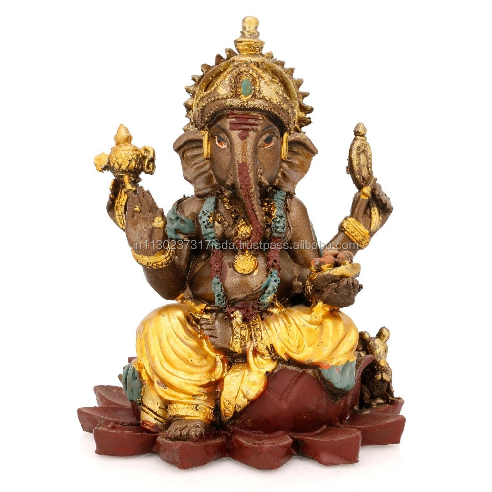 Sitting Ganesha Statue Indian Deity God Idol Lord Lotus Ganesh Sculpture Home Decor Gift