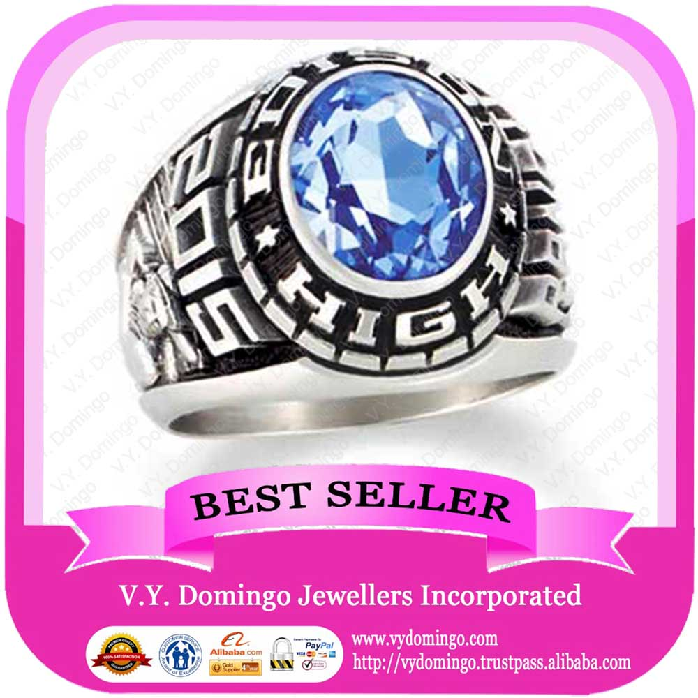 Elegant oval shape blue gems name ring high school souvenirs rings