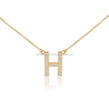 14k yellow gold h diamond letter initial double mounted monogram 14k yellow gold quothquot diamond letter initial double mounted monogram necklace mozeypictures Gallery