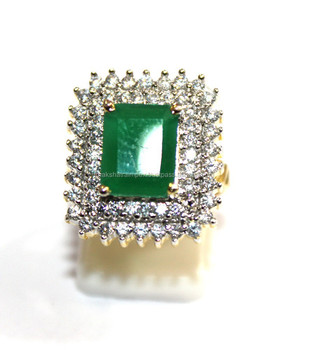 Green Onyx Emerald Cut & C.Z Studded 925 Sterling Silver Gold Plated Ring