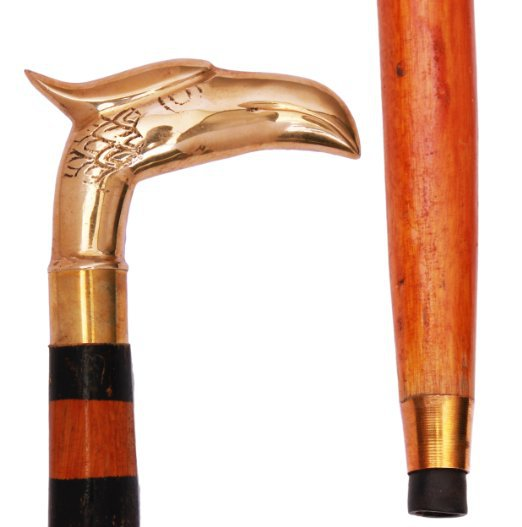 Store Indya Wooden Hand Craved Jogging & Walking Stick-cane Antique Looking Eagle Faced Statue Brass Handle