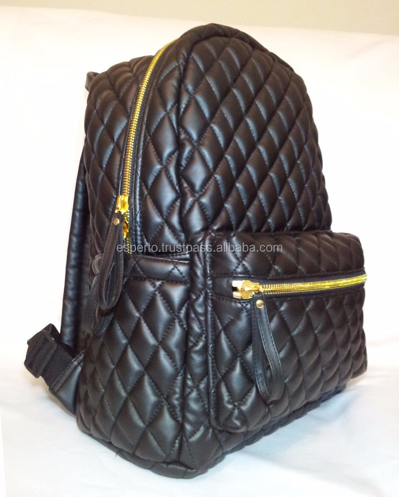 Quilted Leather Backpack Gold Zip Casual Unisex Fashion Bag