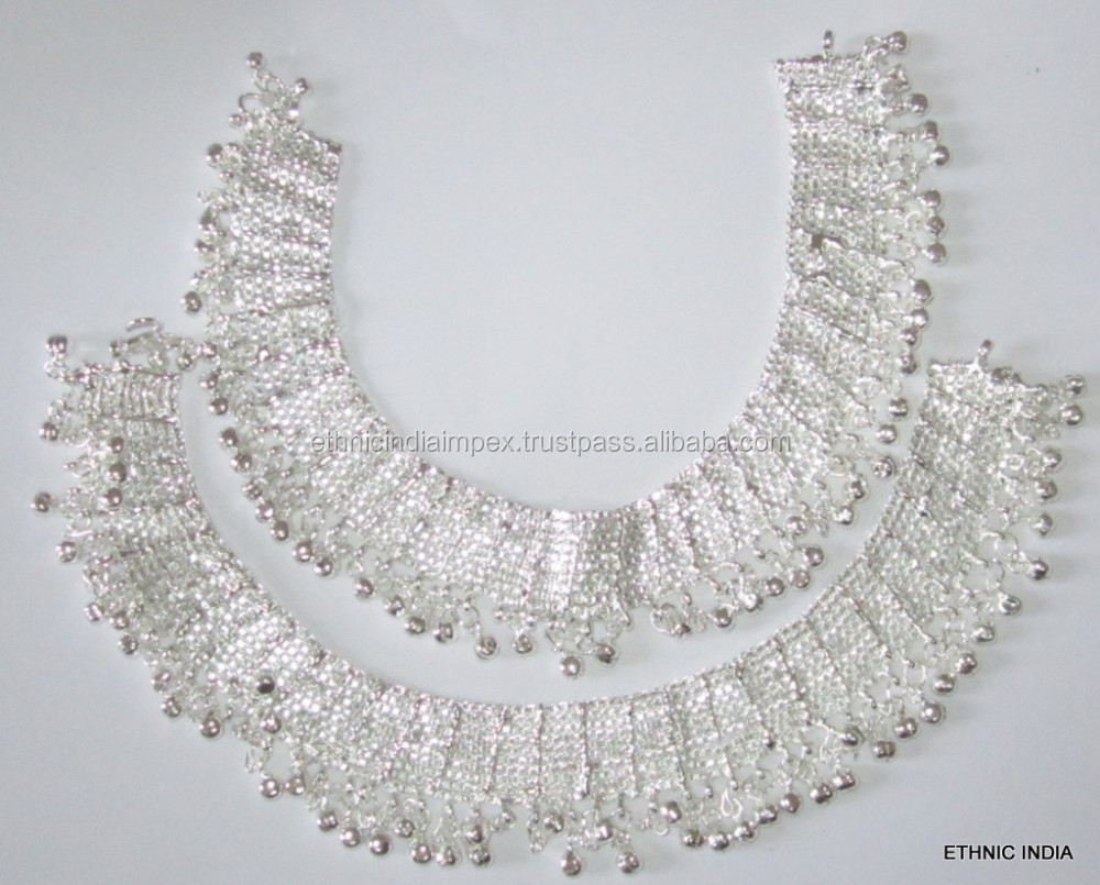 Broad Anklets Silver Tone Payal - Buy Anklets,Indian Payal,Silver ...