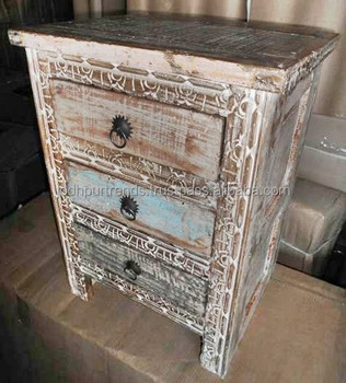 Reclaimed Wood Furniture Made In India White Finish Carved 3 Drawers Night Stand