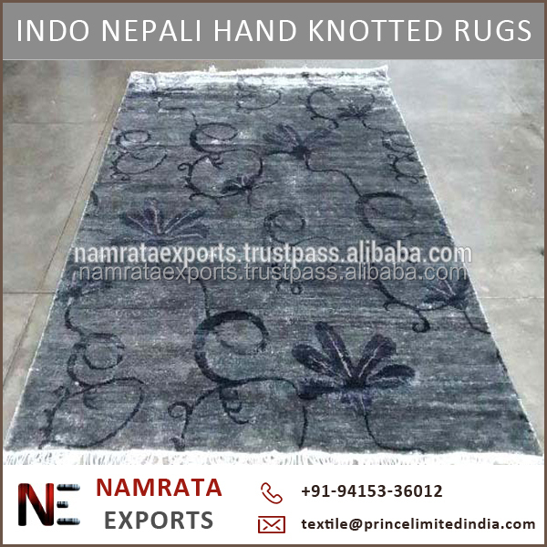 Indo Nepali Hand Knotted Modern Art Silk Carpets and Rugs at Cheap Price