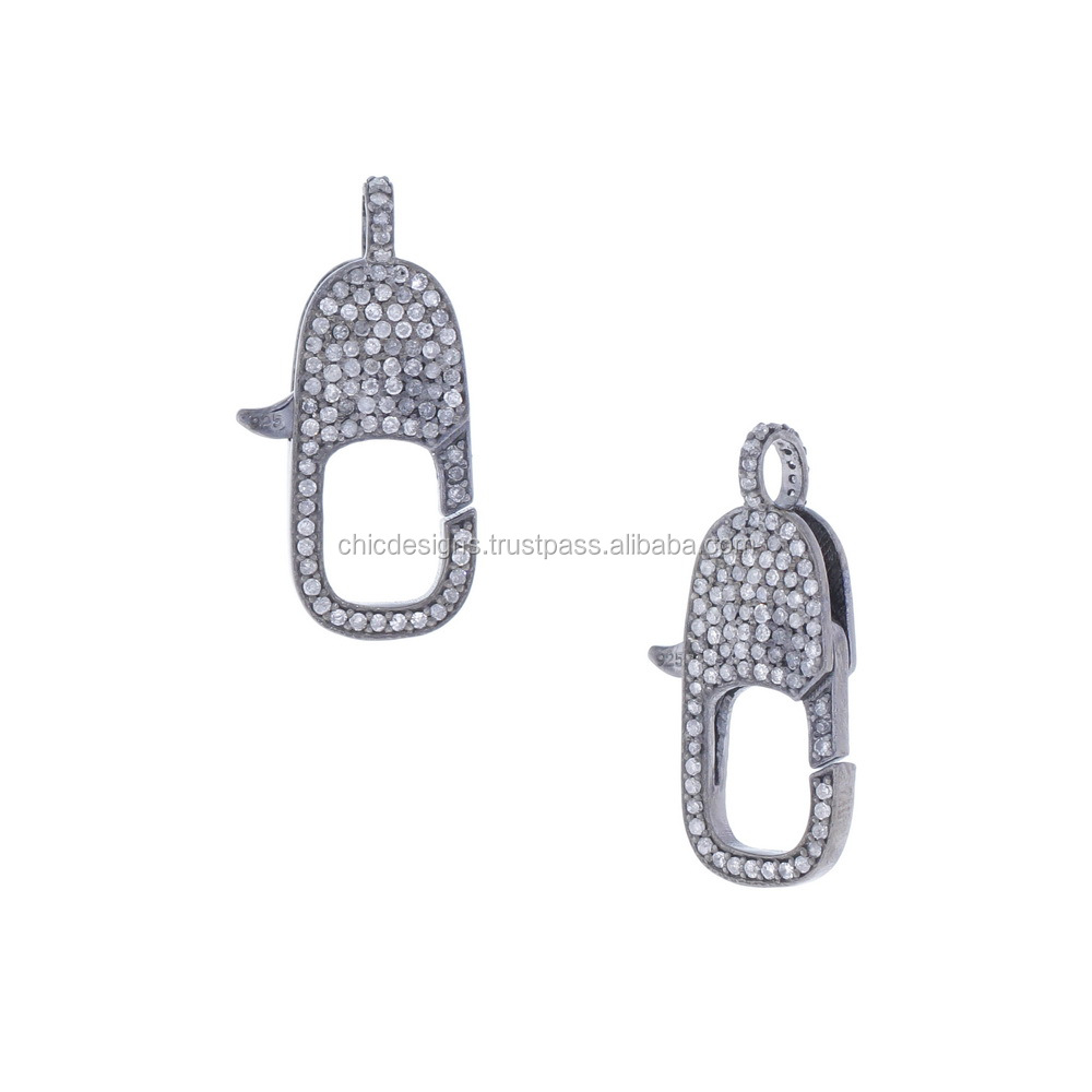 Wholesale Pave Diamond Jewelry 925 Sterling Silver Lobstar Spring Clasp Lock Findings