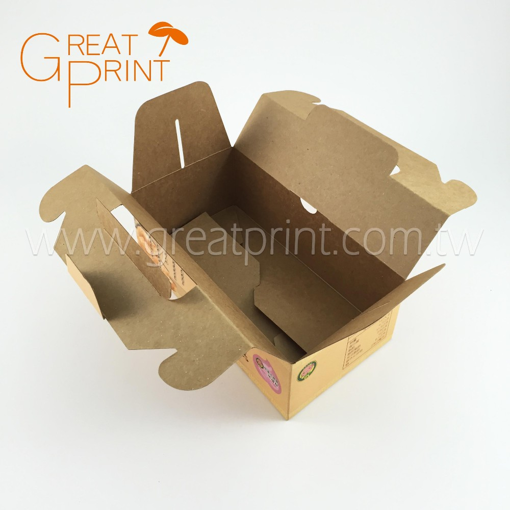 Customized Printing Brown Kraft Paper Cake Box with Handle