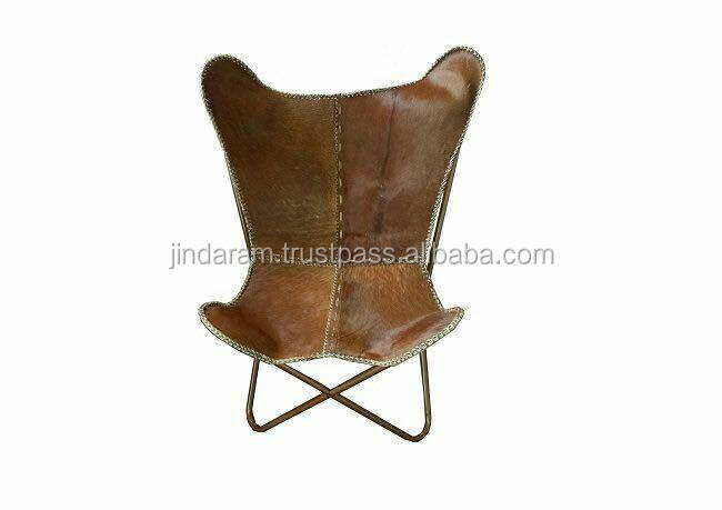 Natural Tan Cow Leather 100% Knockdown Butterfly Chair