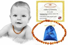 High Quality Natural Baltic Amber Baby Teething necklaces - Baroque cognac color