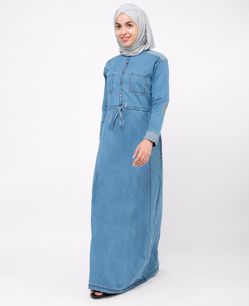 Silk Route Islamic Clothing Abaya Jilbab Islamic Design House - Lightwash Denim Jilbab