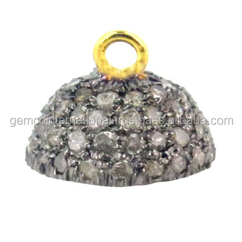 925 Sterling Silver Diamond Pave Bead Caps Jewelry Findings