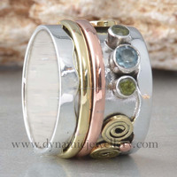 Blue Topaz & Peridot Meditation Hammered Ring