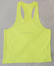 cotton jersey plain yellow stringer tank tops loose fit training muscle singlets