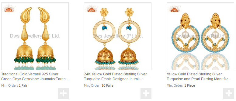 3034e320a New Designer Bridal Wedding Jhumkas Earrings Gold Plated 925 Silver CZ Earrings  Manufacturers of Traditional Pearl
