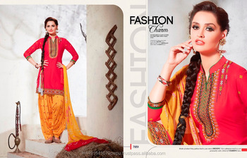 b591ee6e8f Cotton Embroidered Patiala Dress Material For Women/Party Wear Patiala Suit/ Salwar Kameez In