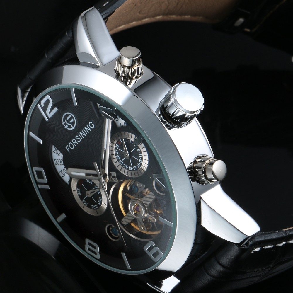 Cheap Winner Mechanical Tourbillon Business Leather Strap Watches 2016 Men Luxury Hand Automatic Watch WM444