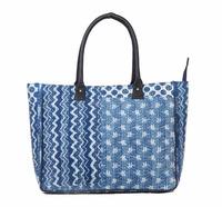 indigo handmade totes purse quilted cotton handbag kantha stitch canvas tote bag