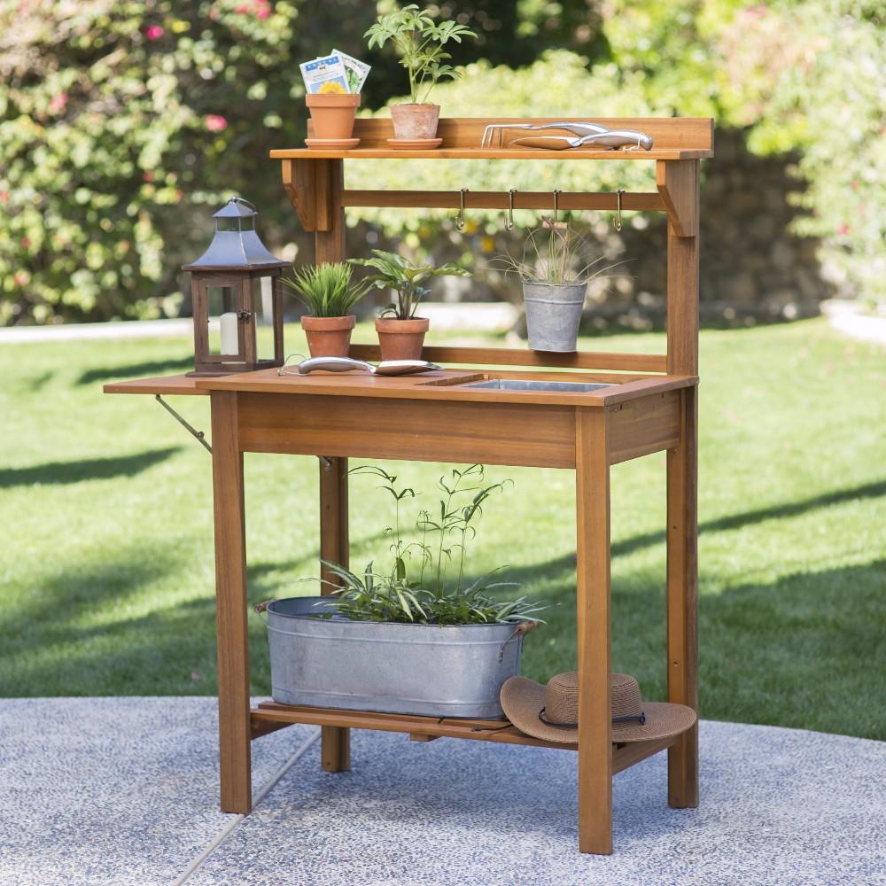 Acacia Wood Potting Bench Outdoor