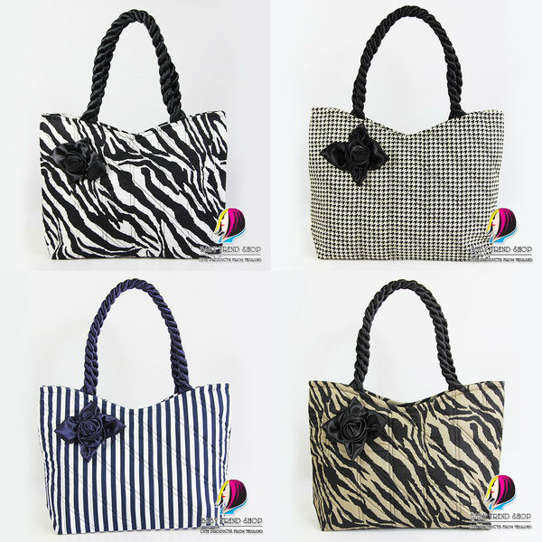 a4c76d7ecb Handbags   Colorful Polka Dot Tote Bags With Front Rose Ribbon And Twisted  Fabric Handle