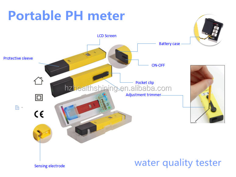 Water pH Tester Of Pocket pH Meter With pH Buffer Powder