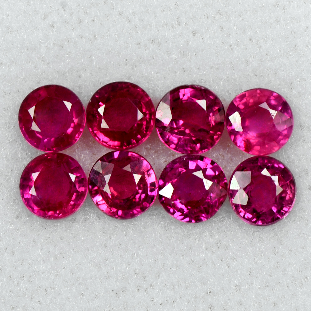 loose gemstone 3.00 Cts Natural Pigeon Red Ruby Gemstone Lovely Round Cut Lot 4.5 mm 8 Pcs Burma
