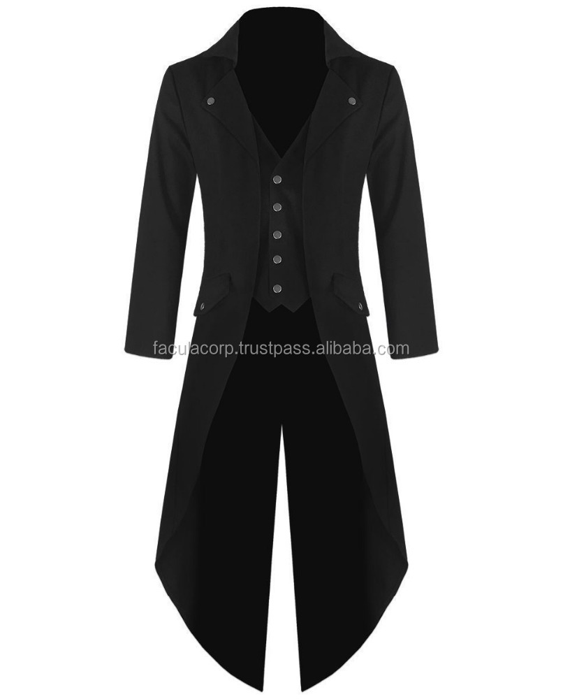 Banned Mens Steam Tailcoat Jacket Black Gothic Victorian Coat FC-2327