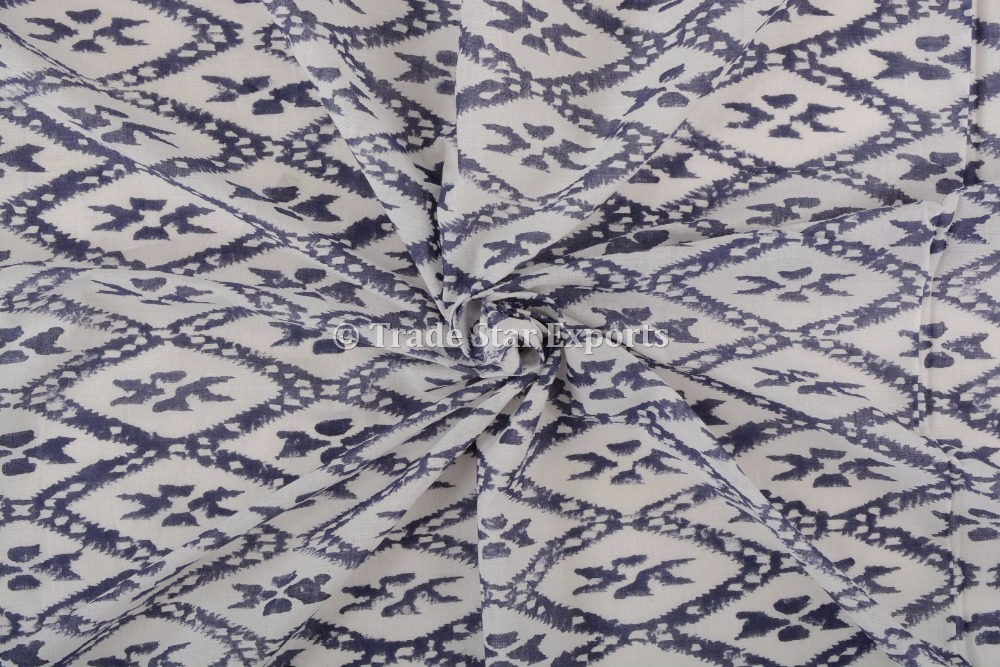 Hand Block Print Indian Cotton Voile Sewing Fabric Blue Material tree ikat print